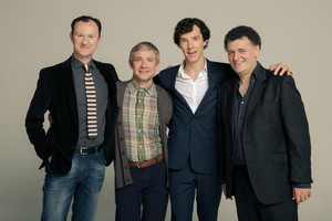 Mark Gatiss, Martin Freeman, Benedict Cumberbatch and Steven Moffat
