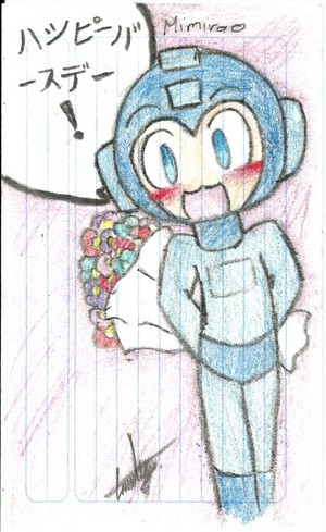 Megaman with flowers