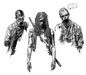 Michonne and Her Walker Pets