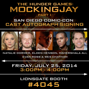 Mockingjay cast members to meet 팬 at SDCC