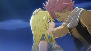 Natsu and Lucy forehead to forehead!
