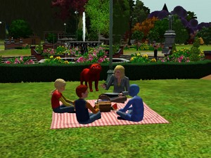 Neighbourhood kids on a picnic with Lynette Scavo