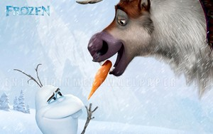 Olaf and Sven kertas dinding