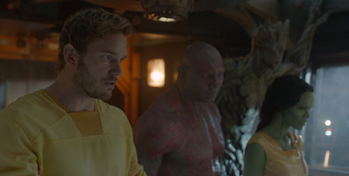 Guardians of the Galaxy 바탕화면 with a triceratops called Peter, Drax,Gamora, and Groot