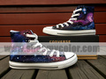 Purple and Blue Galaxy High Top Hand Painted Converse Shoes