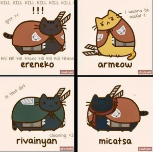 Pusheen Attack on titan