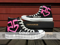 R5 famous converse hand painted black high top shoes
