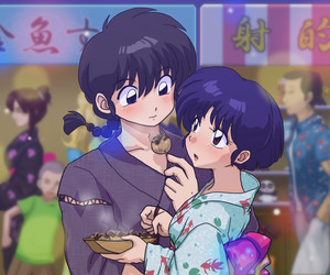 Ranma and Akane at festival