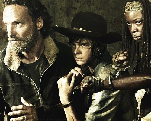 Rick, Carl, and Michonne