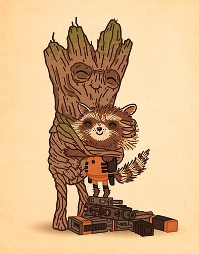 Guardians Of The Galaxy Wallpaper Probably Containing A Fleur De Lis Called Rocket And Groot