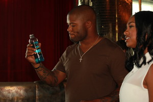 Seattle Seahawks fullback Michael Robinson enjoys HYDRIVE Energy Water before the ESPY Awards.