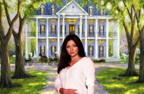 Charmed wallpaper possibly containing a street, a row house, and a brownstone titled Shannen Doherty