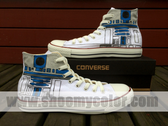 eb72bfd3516df Star Wars R2-D2 Converse All Star Sneaker Custom Hand Painted High ...