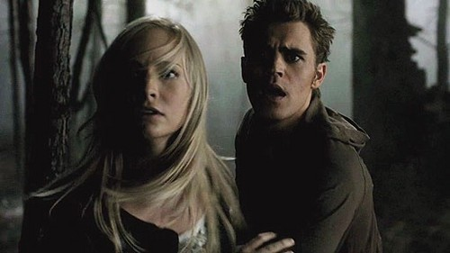 The Vampire Diaries Couples 壁纸 with a portrait entitled Stefan and Caroline