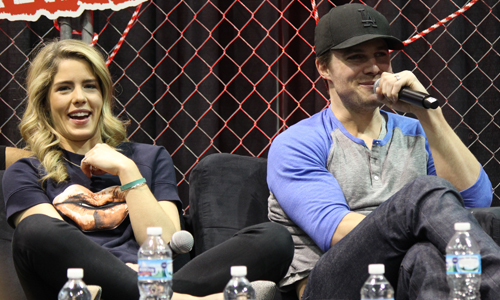 Stephen Amell & Emily Bett Rickards वॉलपेपर with a chainlink fence entitled Stephen Amell and Emily Bett Rickards at the ऐरो panel at Walker Stalker Con, March 16th, 2014.