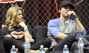 Stephen Amell and Emily Bett Rickards at the Arrow panel at Walker Stalker Con, March 16th, 2014.