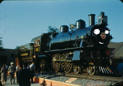 Thomas the Tank Engine Hintergrund possibly with a steam locomotive titled Tabby (PRR 7002)