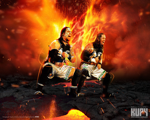 WWE wallpaper with a fire and a fire entitled The Usos - Uso Crazy