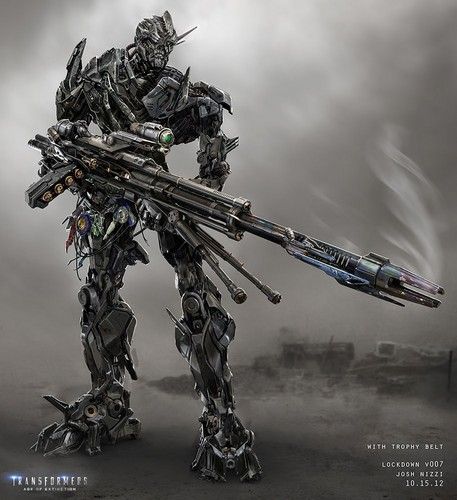 Transformers karatasi la kupamba ukuta possibly containing a rifleman titled Transformer 4 Concept Art