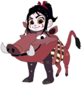 Vanellope dressed as Pumbaa - deviantart fan art
