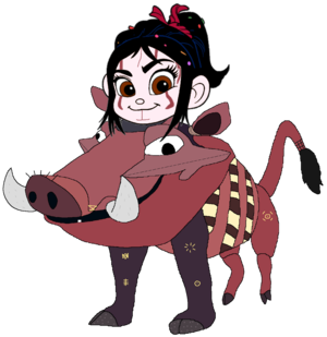 Vanellope dressed as Pumbaa