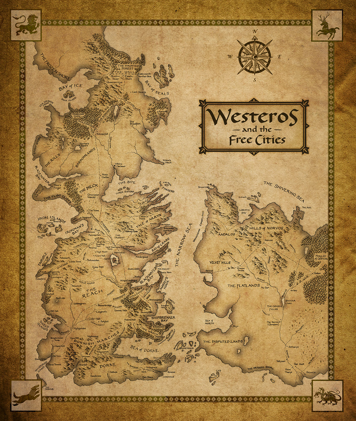 Westeros and the Free Cities map