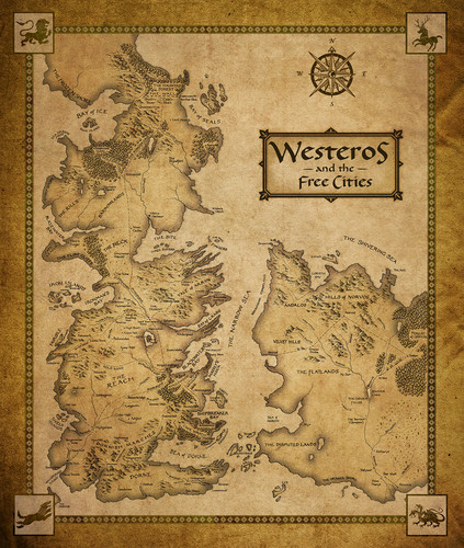 Game of Thrones karatasi la kupamba ukuta titled Westeros and the Free Cities map