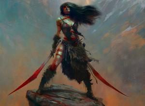 cool red swords