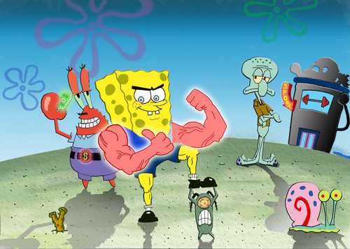 SpongeBob SquarePants hình nền probably containing anime entitled muscle-spongebob