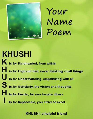 For Khushi
