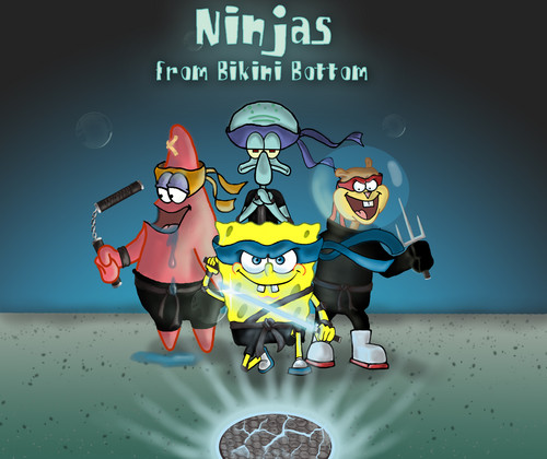 Spongebob Squarepants wallpaper probably with anime entitled ninjas from bikini bottom