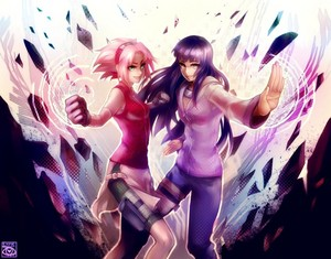 sakura and hinata fighting together