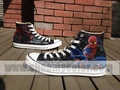 spider man converse sneaker black high top hand painted shoes - spider-man photo