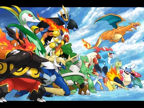 pokemon wallpaper entitled Starters Evs.