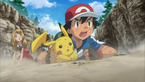 Ash, Pikachu, and Serena