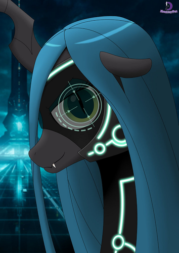 MLP FIM Queen Chrysalis fond d'écran possibly with a roulette wheel and a plaque tournante, platine vinyle titled Awesome Chrysalis pics