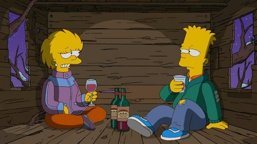 The Simpsons kertas dinding with Anime titled Bart and Lisa older