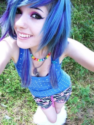 Beautiful Blue Hair and tiger print booty shorts