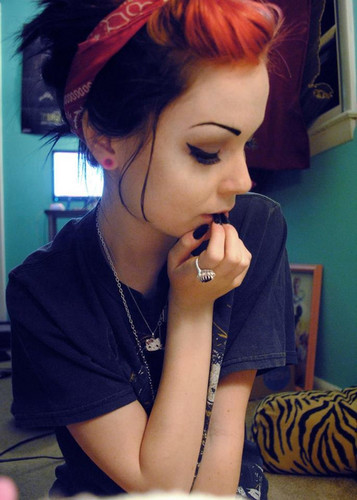 Black emo girl with red hair useful