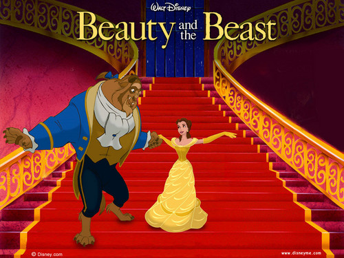 Beauty and the Beast wallpaper possibly with a sign titled Beauty and the Beast Wallpaper - Belle and the Beast