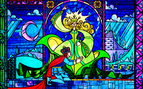 Classic Disney achtergrond containing a stained glass window and anime entitled Beauty and the Beast achtergrond