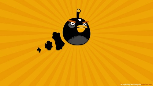 Angry Birds karatasi la kupamba ukuta probably containing a parasol entitled Black Bomb Bird