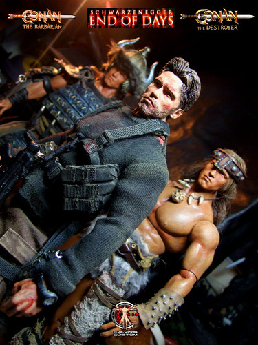 Arnold Schwarzenegger Hintergrund possibly with Anime entitled Calvin's Custom One Sixth Arnold End of Days, Conan the Barbarian, Conan the Destroyer figures