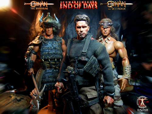 Arnold Schwarzenegger Hintergrund containing a schütze and a green baskenmütze entitled Calvin's Custom One Sixth Arnold End of Days, Conan the Barbarian, Conan the Destroyer figures