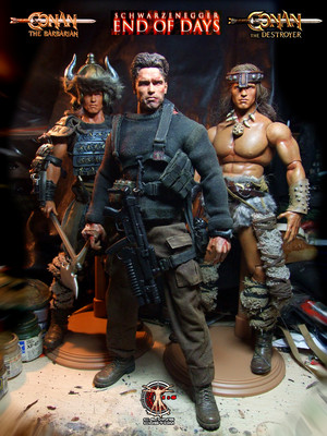 Calvin's Custom One Sixth Arnold End of Days, Conan the Barbarian, Conan the Destroyer figures