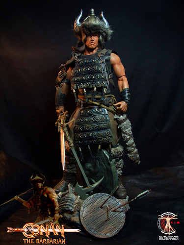 Arnold Schwarzenegger Hintergrund probably with a breastplate, a rifleman, and a brigandine, brigantine called Calvin's Custom One Sixth scale Arnold Schwarzenegger Conan the Barbarian figure
