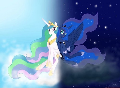 My Little kuda, kuda kecil Friendship is Magic kertas dinding titled Celestia and Luna