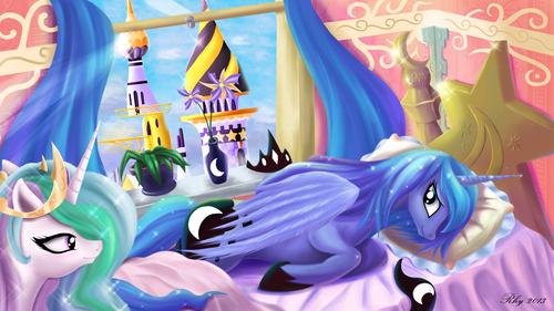 Дружба — это чудо Обои titled Celestia and Luna