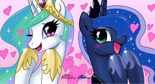 My Little Pony Friendship is Magic wallpaper probably containing anime called Celestia and Luna
