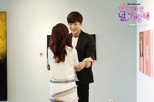 Choi Jin Hyuk achtergrond containing a well dressed person and a business suit entitled Choi Jin Hyuk and Jang Nara hug at still cuts from ''Fated To Love You''